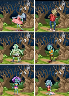 Ensemble de zombies de nuit