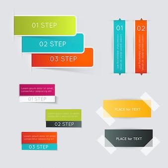 Ensemble de zone de texte colorée avec des étapes, des couleurs à la mode.