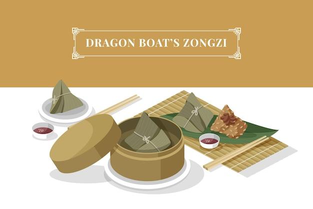 Ensemble de zongzi de bateau dragon