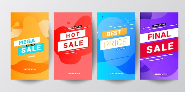 Ensembles de bannières graphiques modernes abstraits colorés pour des histoires