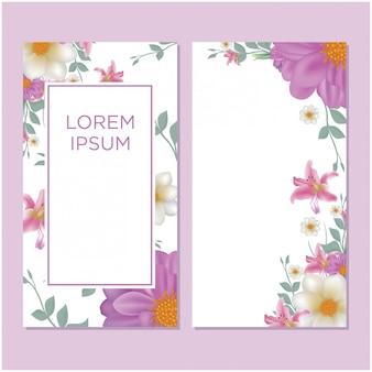 Ensembles de cartes de mariage avec fleurs