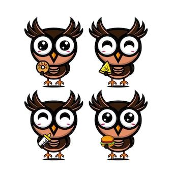 Ensembles de chouettes de collection tenant de la nourriture mascotte de personnage de dessin animé de style plat vector illustration