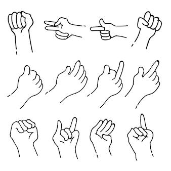 Ensembles de collection de griffonnage de thème de langue des signes dans le fond d'isolement blanc, illustration de vecteur