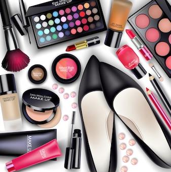 Ensembles de cosmétiques sur fond blanc