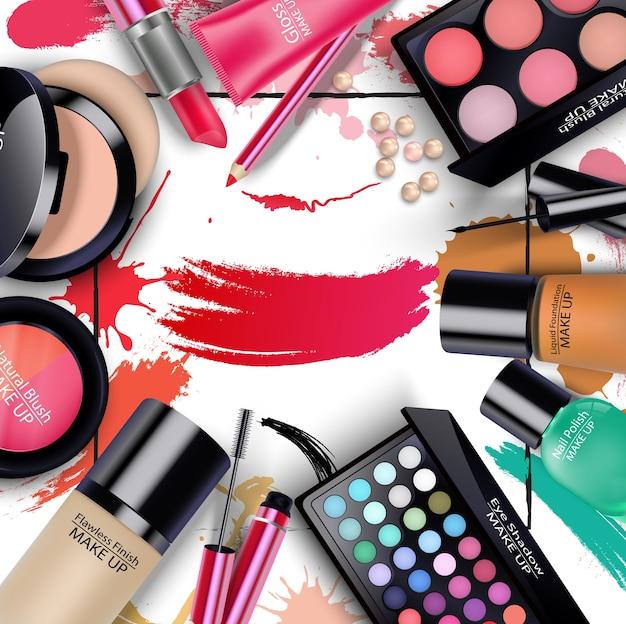 Ensembles de cosmétiques sur fond isolé