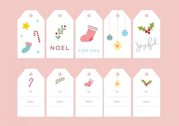 Ensembles étiquettes de cadeau de noël - mignon