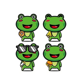 Ensembles de grenouilles de collection tenant de la nourriture mascotte de personnage de dessin animé de style plat vector illustration