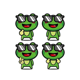 Ensembles de grenouilles d'été mignon collection vector illustration mascotte de personnage de dessin animé de style plat