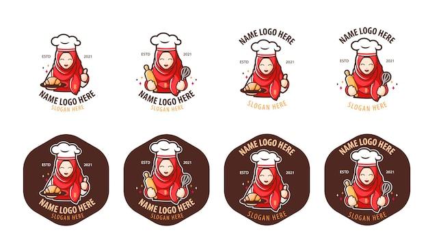 Ensembles de logo de chef de boulangerie islamique