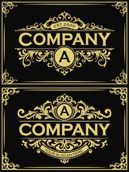 Ensembles de logo vintage or rectangulaire