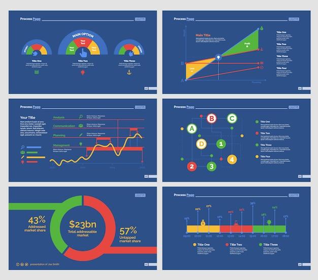 Ensembles de modèles de diapositives six charts analytics