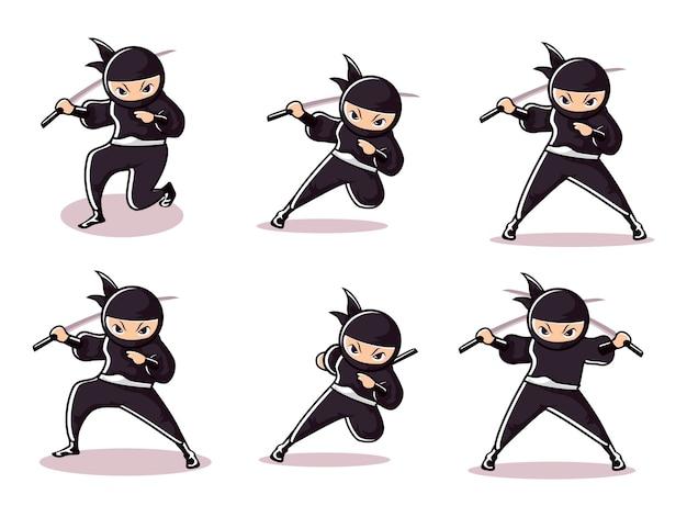 Ensembles de ninja noir de dessin animé