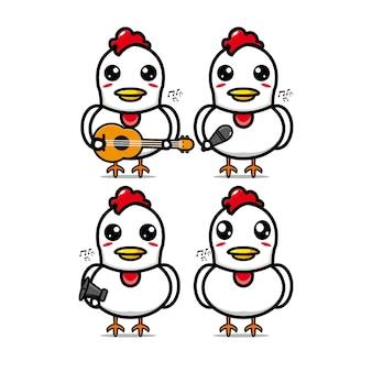 Ensembles de poulet de collection tenant des instruments de musiquepersonnage de dessin animé de style plat d'illustration vectorielle