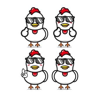 Ensembles de poulet d'été mignon collection vector illustration mascotte de personnage de dessin animé de style plat