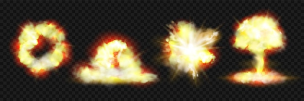Ensembles réalistes d'explosions de feu et d'explosions de bombes