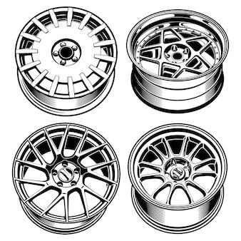 Ensembles de roues de voiture jantes ligne art silhouette illustration pour la conception conceptuelle