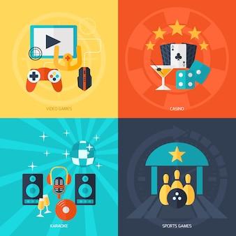 Entertainment flat icons set