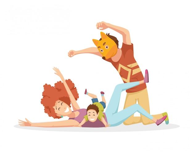 Enthousiaste jeune famille avec des enfants qui rient et s'amusent ensemble, parents avec enfants profitant des jeux à la maison. père en masque de renard.