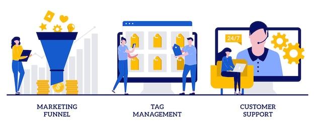 Entonnoir de marketing, gestion des balises, concept de support client avec de petites personnes. ensemble d'e-marketing. cycle de produit, collecte de données, logiciel d'analyse, chat en ligne.
