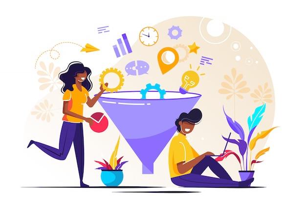 L'entonnoir de marketing numérique mène la génération avec les clients