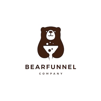 Entonnoir ours logo icône illustration vectorielle