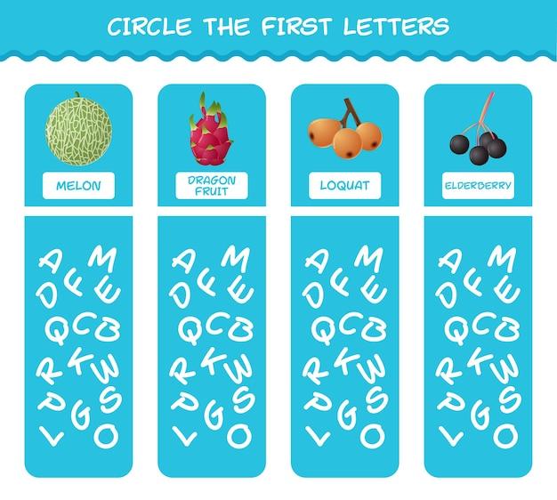 Entourez les premières lettres des fruits de dessins animés. jeu de correspondance. jeu éducatif pour les enfants et les tout-petits de la pré-école