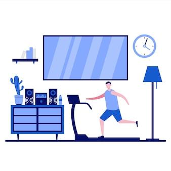 Entraînement à domicile avec des personnes faisant des exercices physiques et courant sur un tapis roulant au design plat