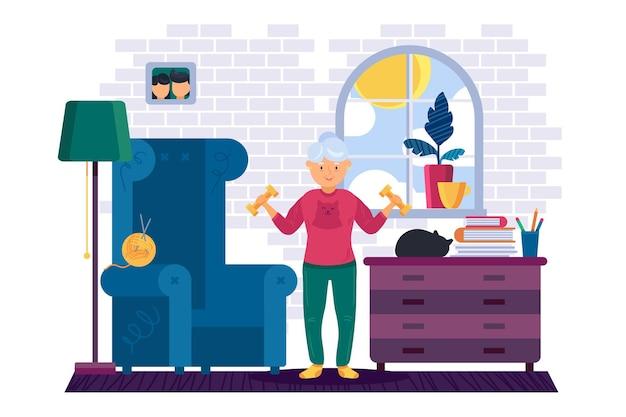 Entraînement de grand-mère avec des haltères à la maison