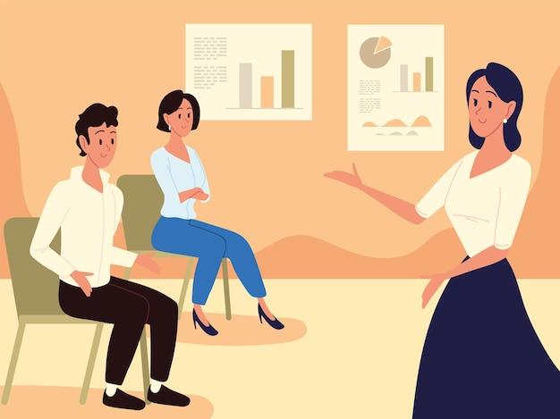 Entraîneur de femme parlant aux employés