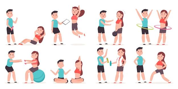 Entraîneur personnel avec une jeune fille faisant des exercices de fitness jeu de personnages de dessins animés.