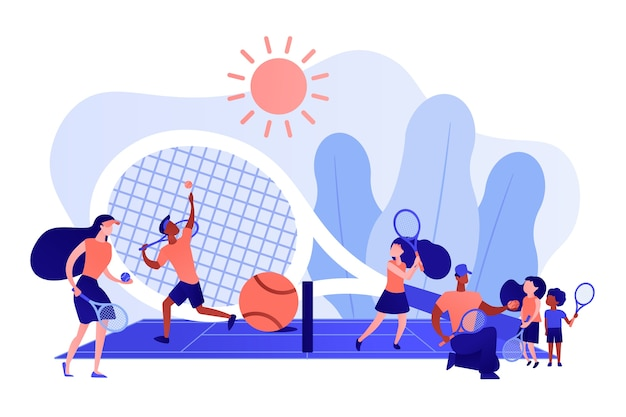 Entraîneurs et enfants sur le terrain pratiquant avec des raquettes dans un camp d'été, des gens minuscules. camp de tennis, académie de tennis, concept de formation de tennis junior. illustration isolée de bleu corail rose