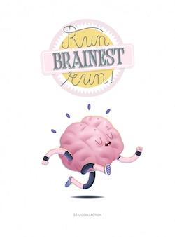 Entraînez votre affiche du cerveau avec l'inscription, la course