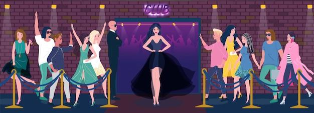 Entrée de boîte de nuit, belle femme en robe, les gens font la queue, illustration