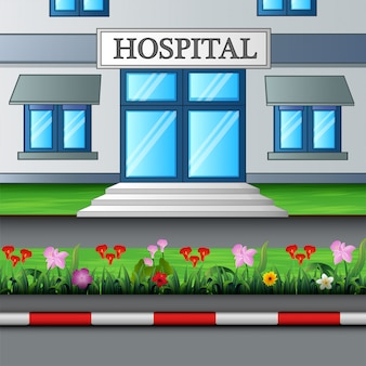 L'entrée du bâtiment de l'hôpital