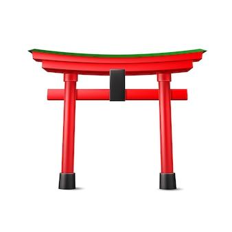 Entrée rouge en bois vecteur torii japonais