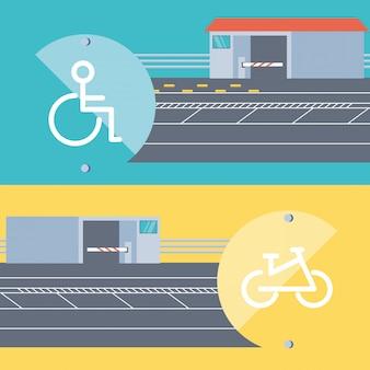 Entrée de la zone de stationnement pour personnes handicapées et bicicules
