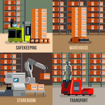 Entrepôt automatisé avec robots et bannières de stockage