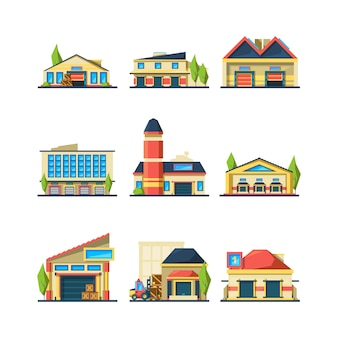 Entrepôt. bâtiments à façade plate de magasin ou d'entrepôt d'usine illustrations de maison extérieure