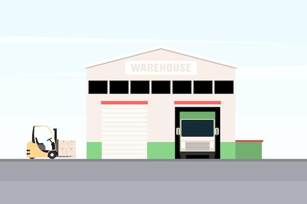 Entrepôt avec camion de chargement et chariot élévateur.