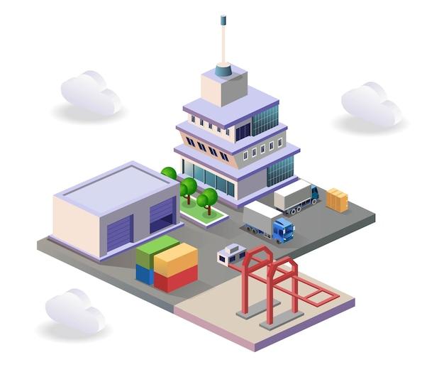 Entrepôt dans le port intérieur entre les pays dans l'illustration de l'isométrie