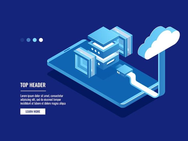 Entrepôt de données abstraites futuriste, stockage en nuage, salle des serveurs, centre de données et icône de base de données