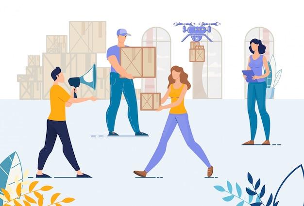 Entrepôt, équipe de chargeurs, processus de travail logistique