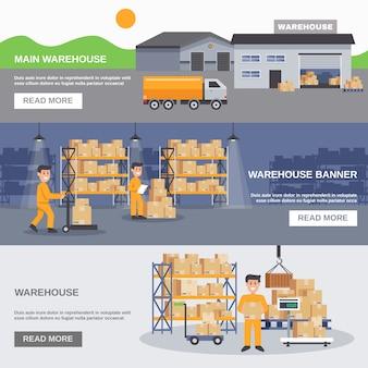 Entrepôt intérieur et extérieur de bannières horizontales