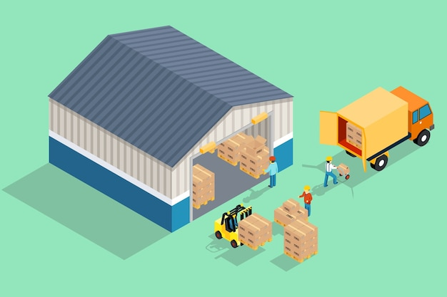 Entrepôt isométrique. chargement et déchargement de l'entrepôt.