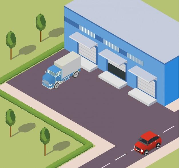 L'entrepôt isométrique construit des camions de livraison et la route.