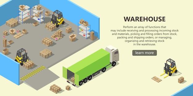 Entrepôt isométrique, service de livraison