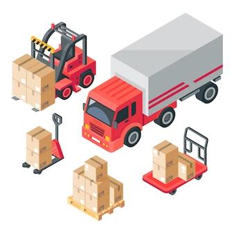 Entrepôt isométrique. stock, stockage, camion, chariot élévateur et transpalette à fourche. boîtes en carton et palettes en bois. logistique 3d