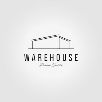Entrepôt logo ligne art design illustration vectorielle