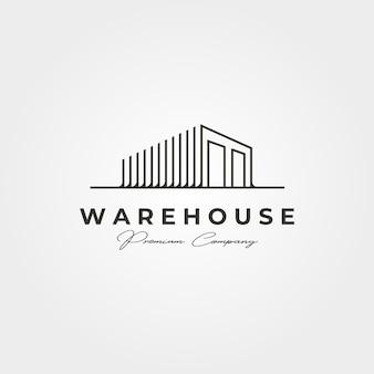 Entrepôt stockage ligne art logo vector illustration design, style d'art en ligne