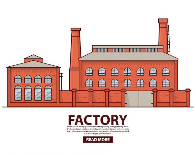 Entrepôt d'usine industrielle. bâtiment d'usine. ancienne usine vintage. architecture de cheminée en brique. production de l'industrie du concept.